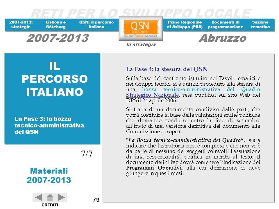 IL PERCORSO ITALIANO 7/7 La Fase 3: la stesura del QSN