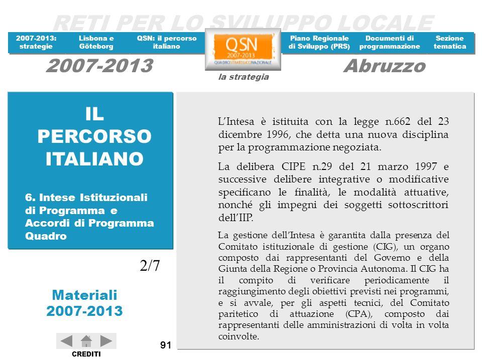 IL PERCORSO ITALIANO L'Intesa è istituita con la legge n.662 del 23 dicembre 1996, che detta una nuova disciplina per la programmazione negoziata.