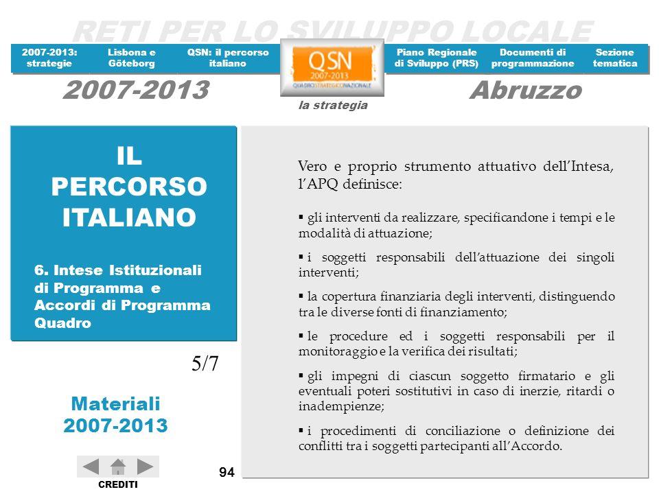 IL PERCORSO ITALIANO Vero e proprio strumento attuativo dell'Intesa, l'APQ definisce: