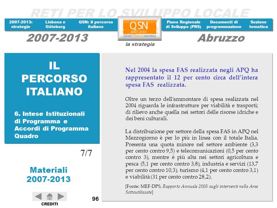 IL PERCORSO ITALIANO Nel 2004 la spesa FAS realizzata negli APQ ha rappresentato il 12 per cento circa dell'intera spesa FAS realizzata.