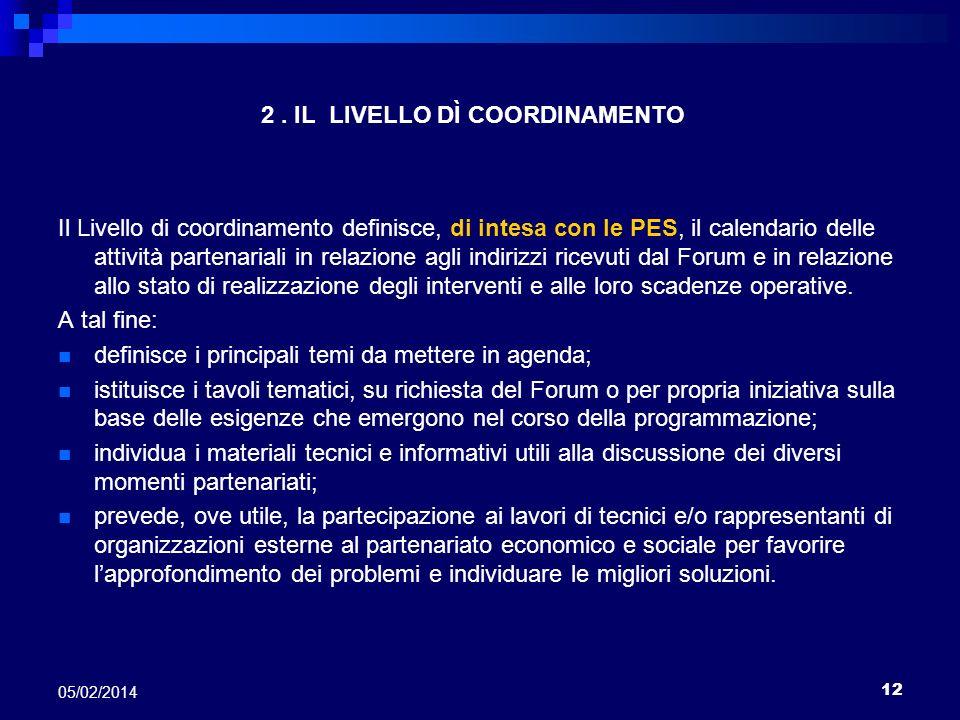 2 . IL LIVELLO DÌ COORDINAMENTO