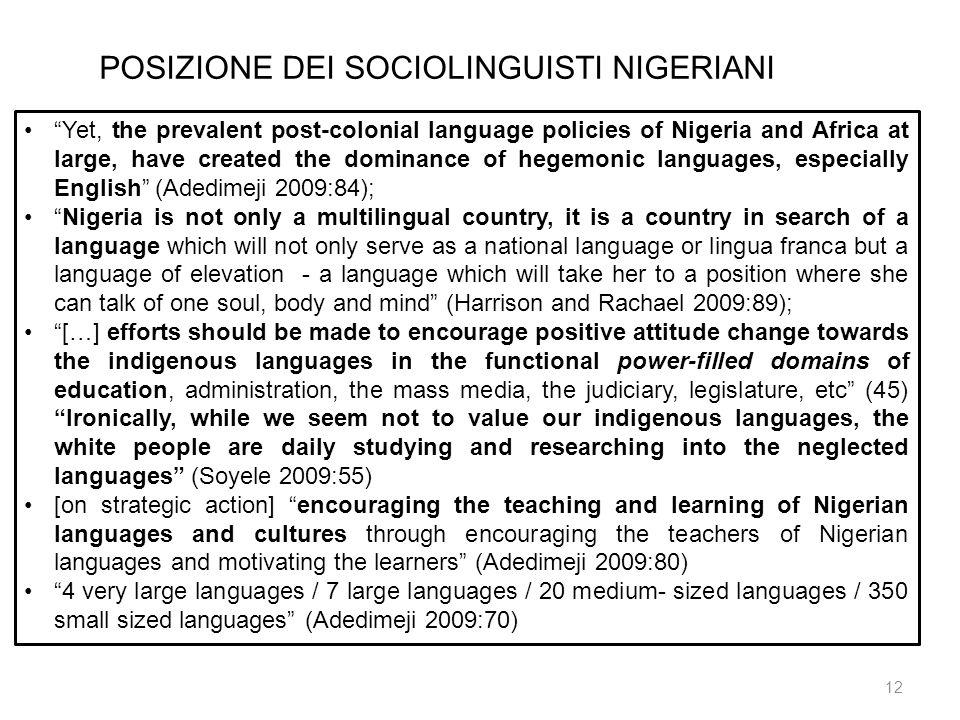 POSIZIONE DEI SOCIOLINGUISTI NIGERIANI