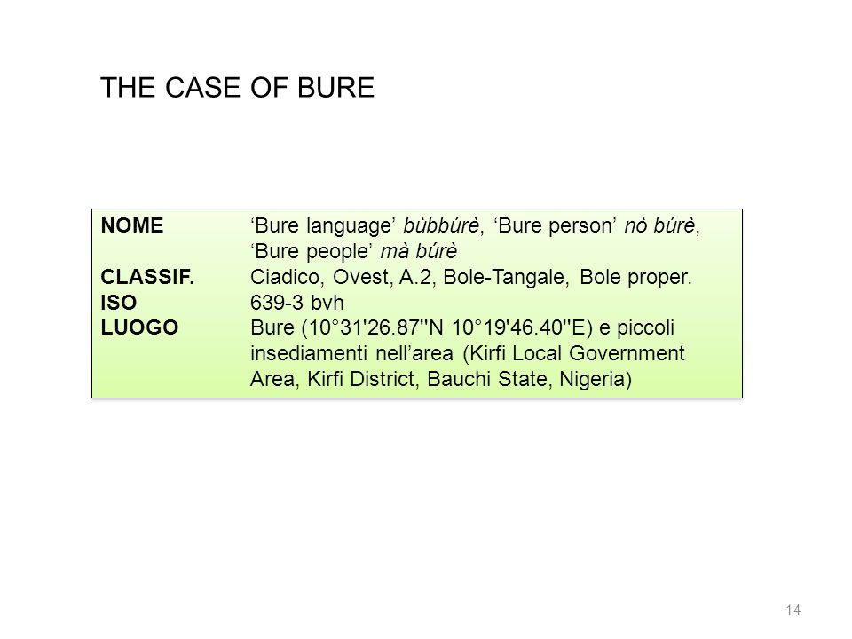 THE CASE OF BURE NOME 'Bure language' bùbbúrè, 'Bure person' nò búrè, 'Bure people' mà búrè.