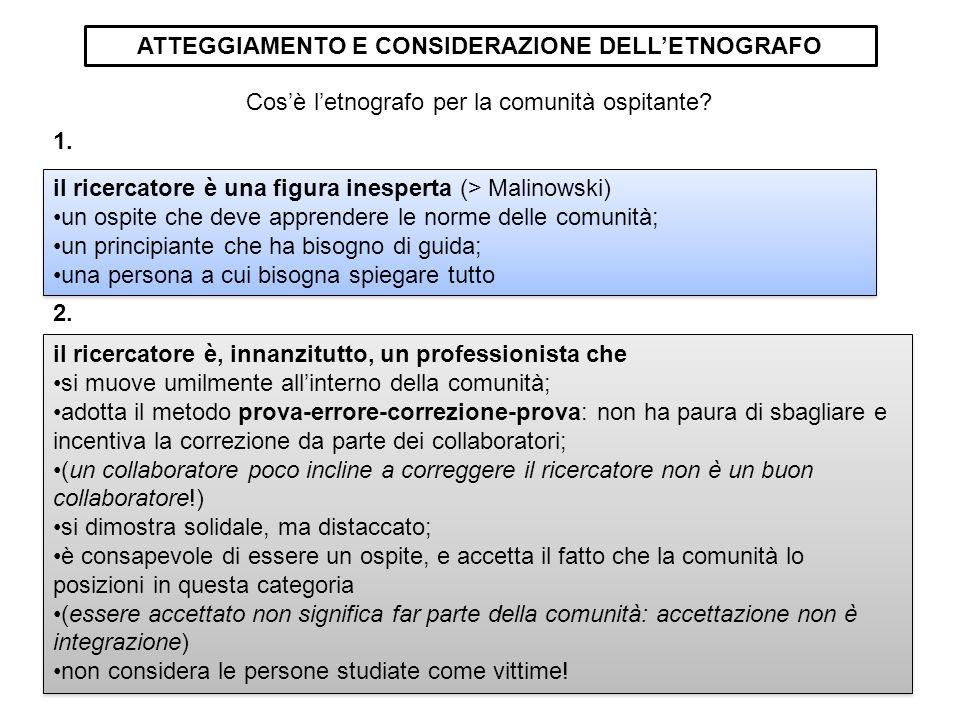 ATTEGGIAMENTO E CONSIDERAZIONE DELL'ETNOGRAFO