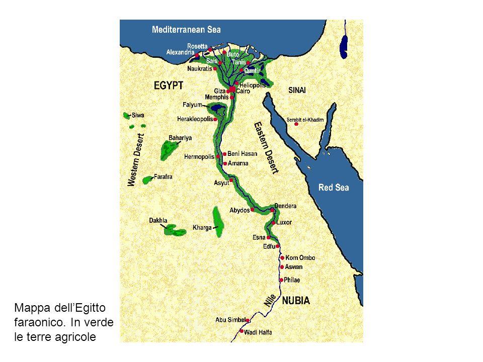 Mappa dell'Egitto faraonico. In verde le terre agricole