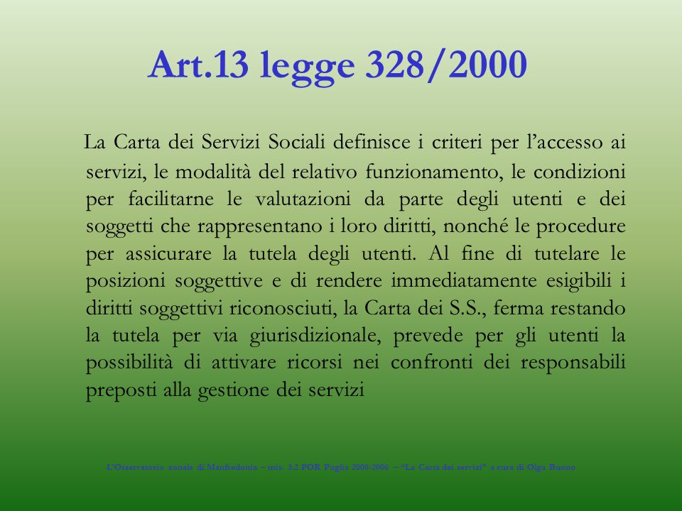 Art.13 legge 328/2000