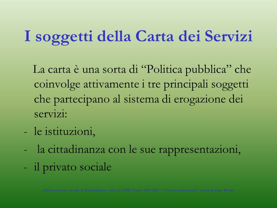 I soggetti della Carta dei Servizi