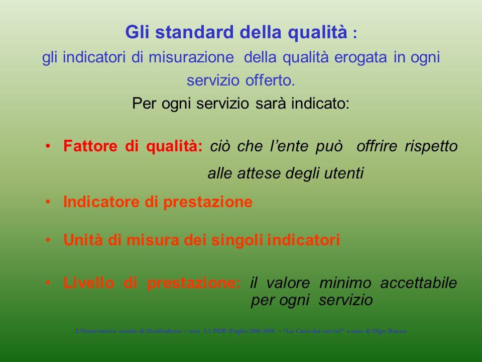 Gli standard della qualità : gli indicatori di misurazione della qualità erogata in ogni servizio offerto. Per ogni servizio sarà indicato: