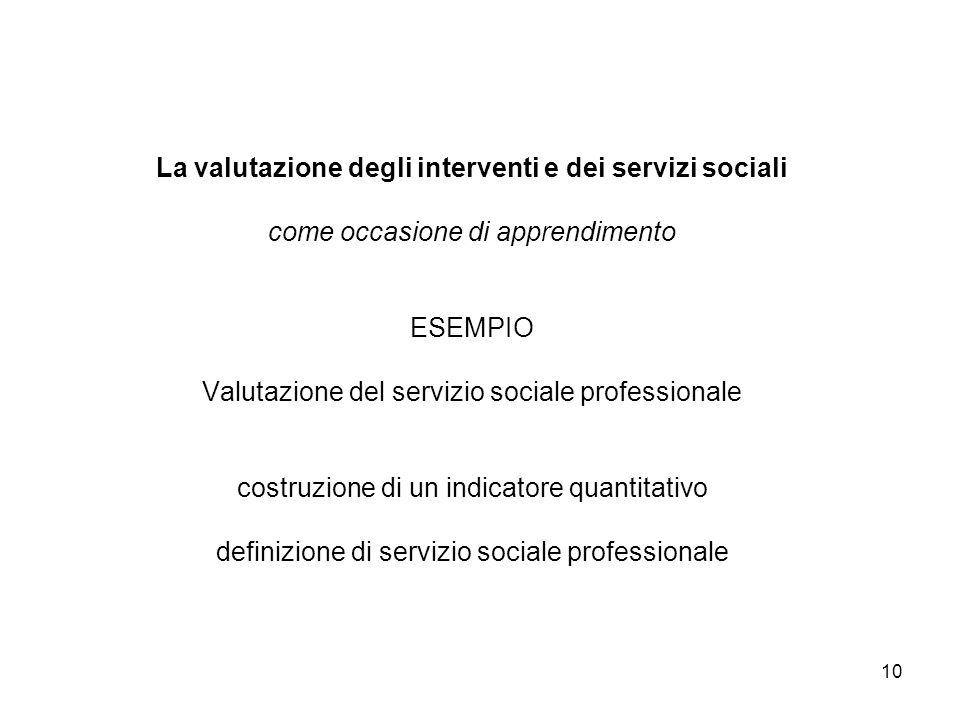 La valutazione degli interventi e dei servizi sociali come occasione di apprendimento ESEMPIO Valutazione del servizio sociale professionale costruzione di un indicatore quantitativo definizione di servizio sociale professionale