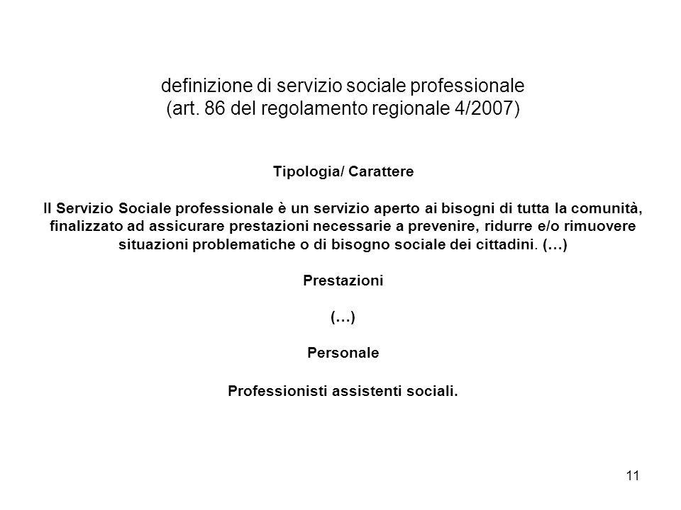 definizione di servizio sociale professionale (art