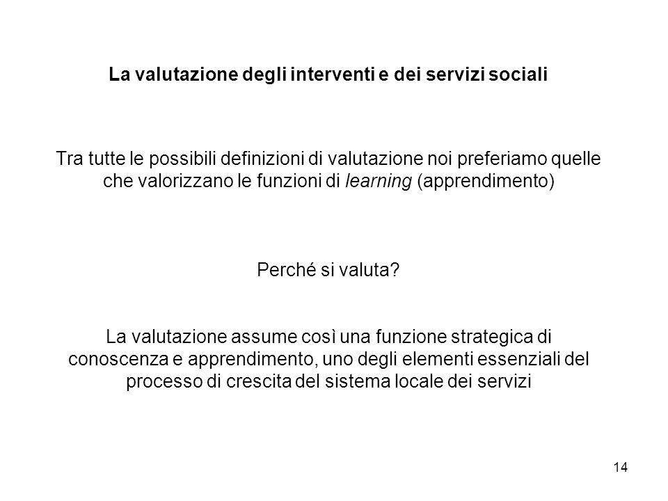 La valutazione degli interventi e dei servizi sociali Tra tutte le possibili definizioni di valutazione noi preferiamo quelle che valorizzano le funzioni di learning (apprendimento) Perché si valuta.