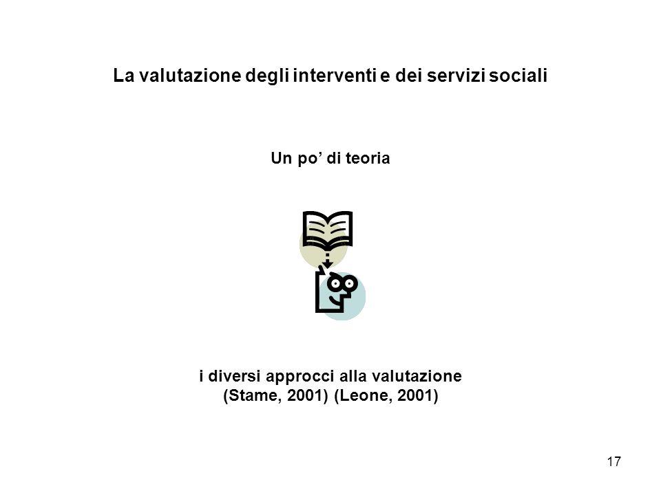 La valutazione degli interventi e dei servizi sociali Un po' di teoria i diversi approcci alla valutazione (Stame, 2001) (Leone, 2001)