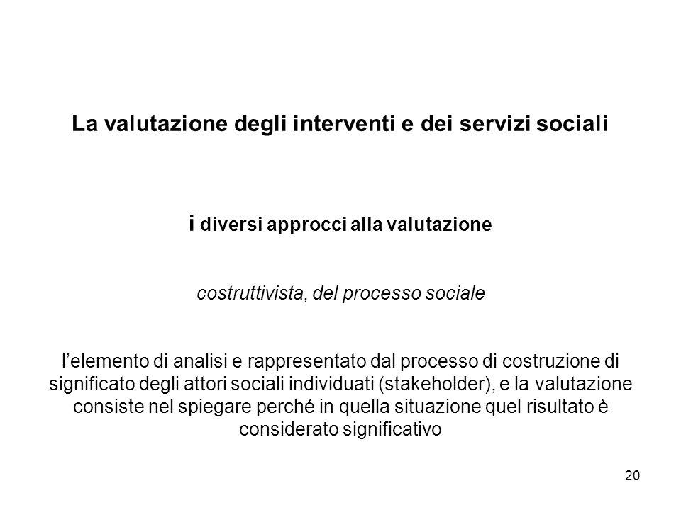 La valutazione degli interventi e dei servizi sociali i diversi approcci alla valutazione costruttivista, del processo sociale l'elemento di analisi e rappresentato dal processo di costruzione di significato degli attori sociali individuati (stakeholder), e la valutazione consiste nel spiegare perché in quella situazione quel risultato è considerato significativo