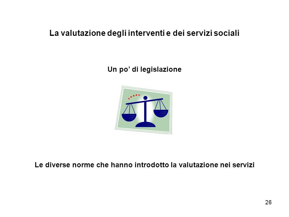 La valutazione degli interventi e dei servizi sociali Un po' di legislazione Le diverse norme che hanno introdotto la valutazione nei servizi