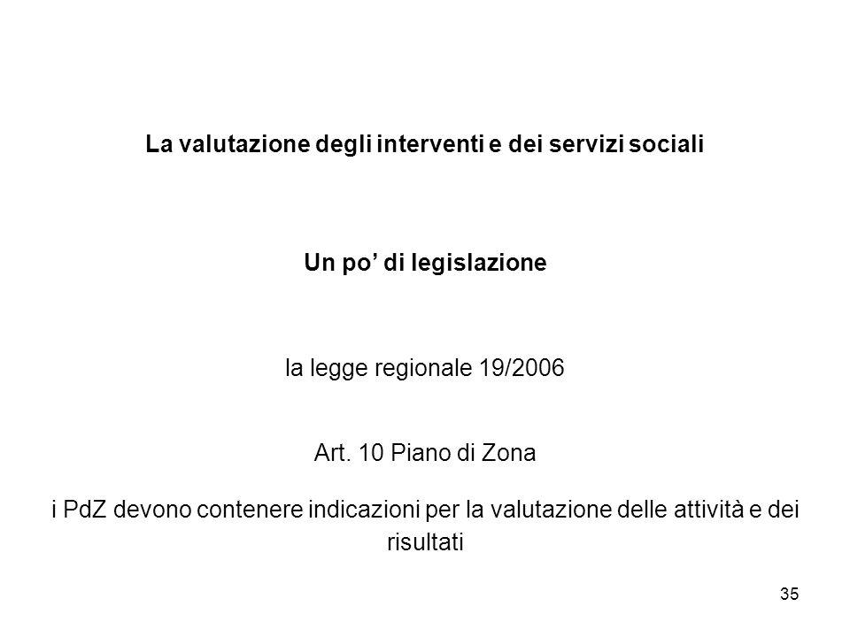 La valutazione degli interventi e dei servizi sociali Un po' di legislazione la legge regionale 19/2006 Art.