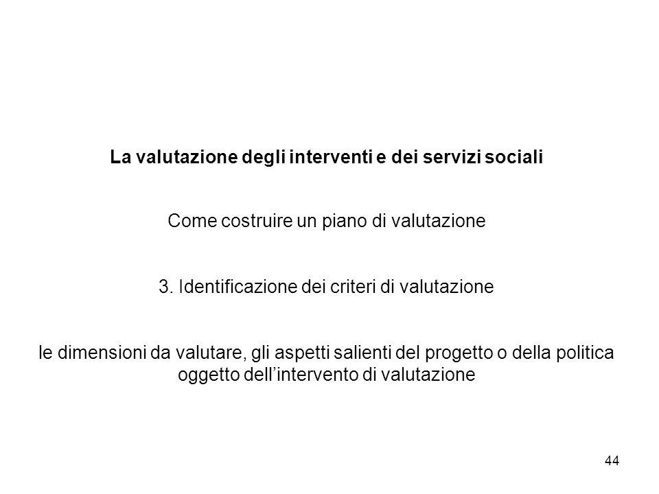 La valutazione degli interventi e dei servizi sociali Come costruire un piano di valutazione 3.