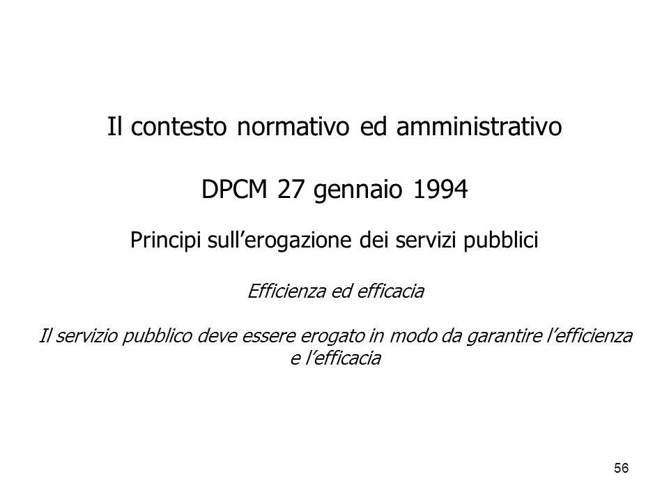 Il contesto normativo ed amministrativo DPCM 27 gennaio 1994 Principi sull'erogazione dei servizi pubblici Efficienza ed efficacia Il servizio pubblico deve essere erogato in modo da garantire l'efficienza e l'efficacia