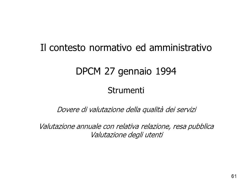 Il contesto normativo ed amministrativo DPCM 27 gennaio 1994 Strumenti Dovere di valutazione della qualità dei servizi Valutazione annuale con relativa relazione, resa pubblica Valutazione degli utenti