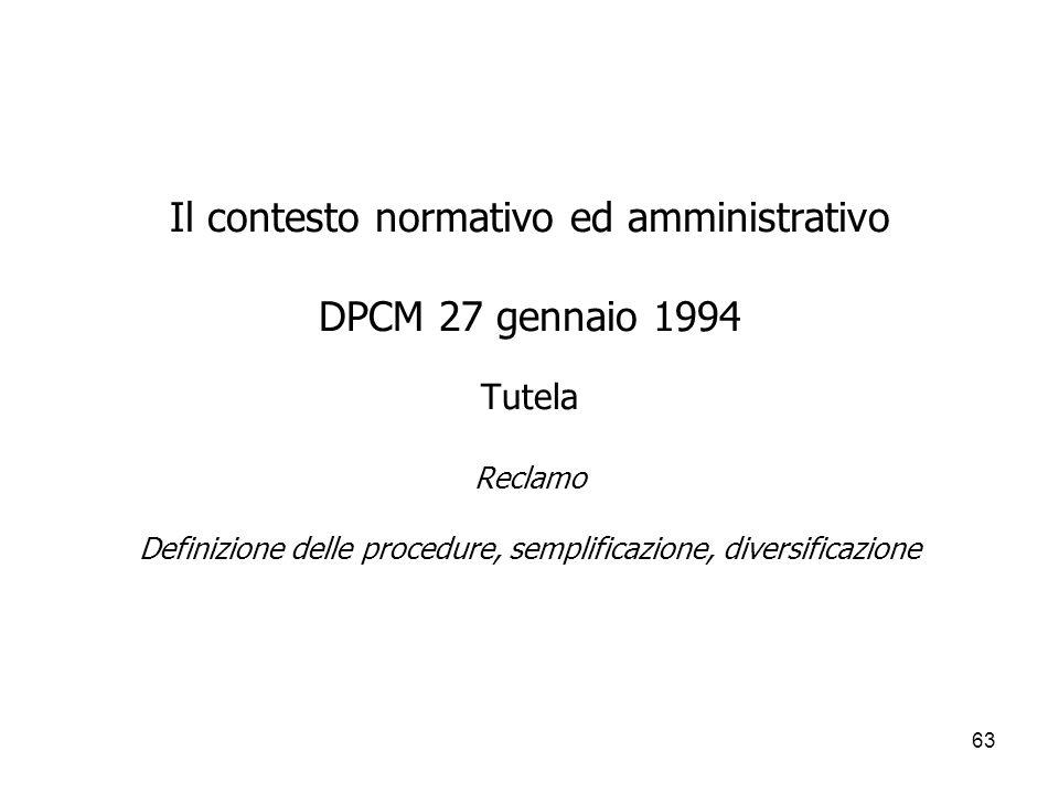 Il contesto normativo ed amministrativo DPCM 27 gennaio 1994 Tutela Reclamo Definizione delle procedure, semplificazione, diversificazione