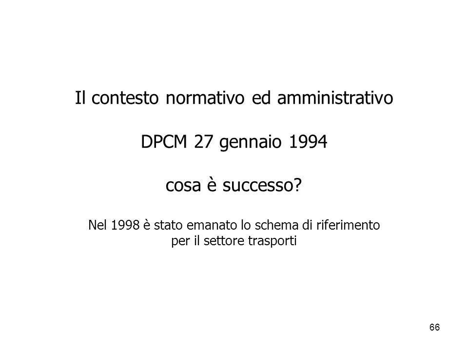 Il contesto normativo ed amministrativo DPCM 27 gennaio 1994 cosa è successo.