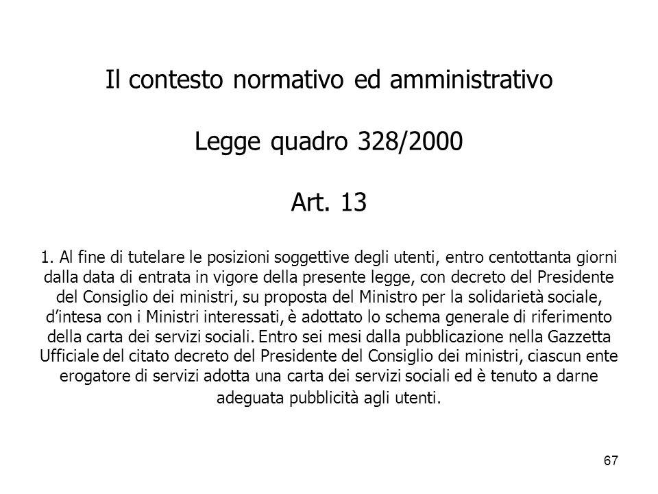 Il contesto normativo ed amministrativo Legge quadro 328/2000 Art.