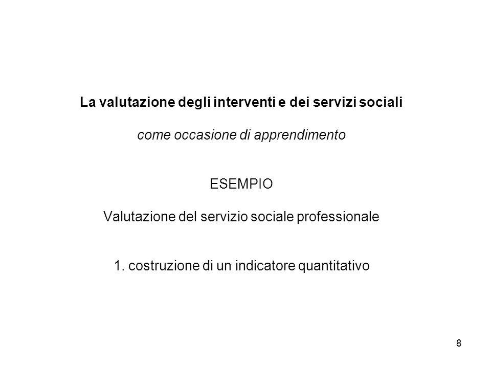 La valutazione degli interventi e dei servizi sociali come occasione di apprendimento ESEMPIO Valutazione del servizio sociale professionale 1.