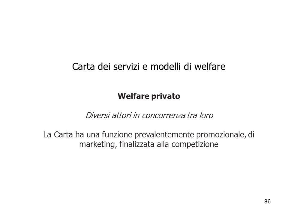 Carta dei servizi e modelli di welfare Welfare privato Diversi attori in concorrenza tra loro La Carta ha una funzione prevalentemente promozionale, di marketing, finalizzata alla competizione