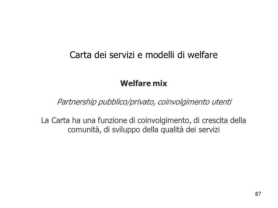 Carta dei servizi e modelli di welfare Welfare mix Partnership pubblico/privato, coinvolgimento utenti La Carta ha una funzione di coinvolgimento, di crescita della comunità, di sviluppo della qualità dei servizi