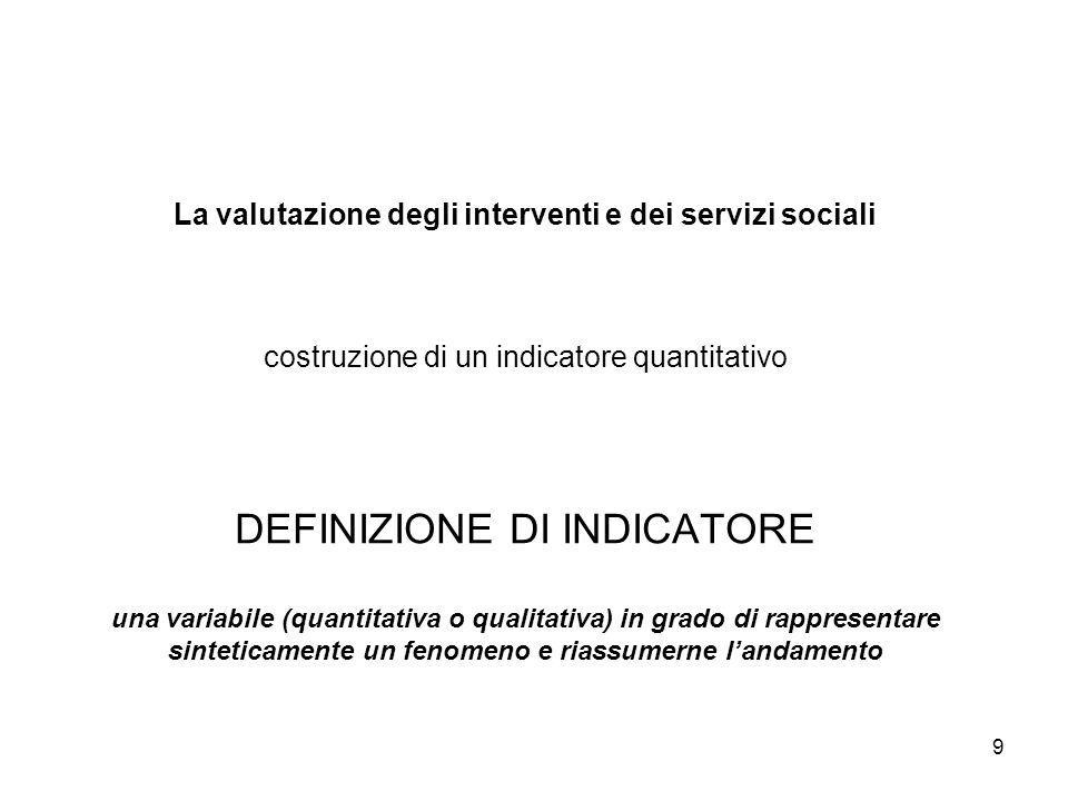 La valutazione degli interventi e dei servizi sociali costruzione di un indicatore quantitativo DEFINIZIONE DI INDICATORE una variabile (quantitativa o qualitativa) in grado di rappresentare sinteticamente un fenomeno e riassumerne l'andamento