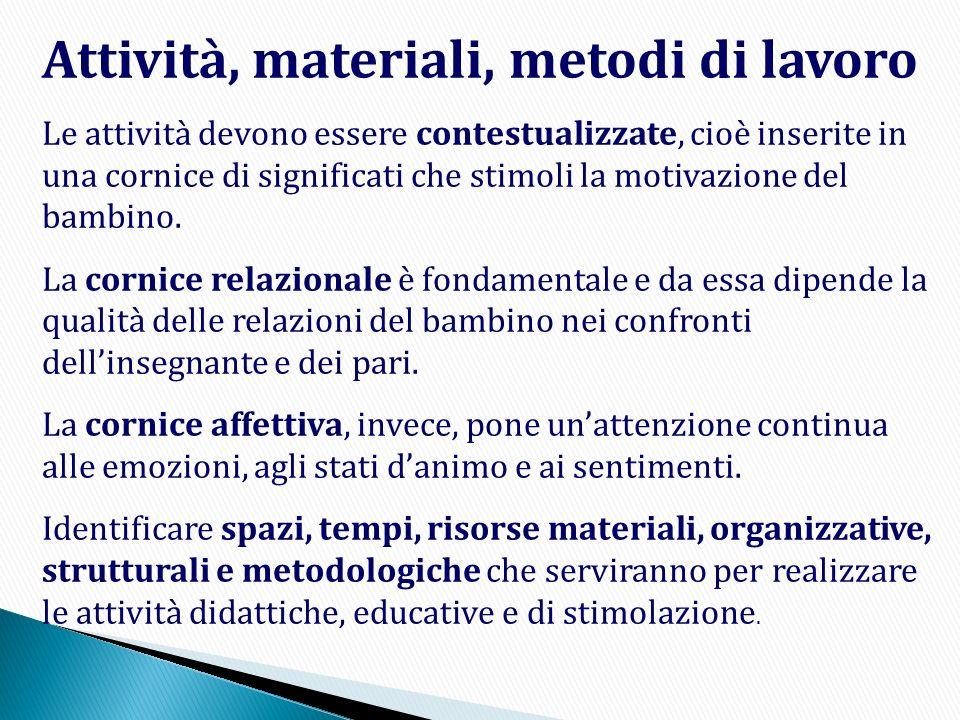 Attività, materiali, metodi di lavoro