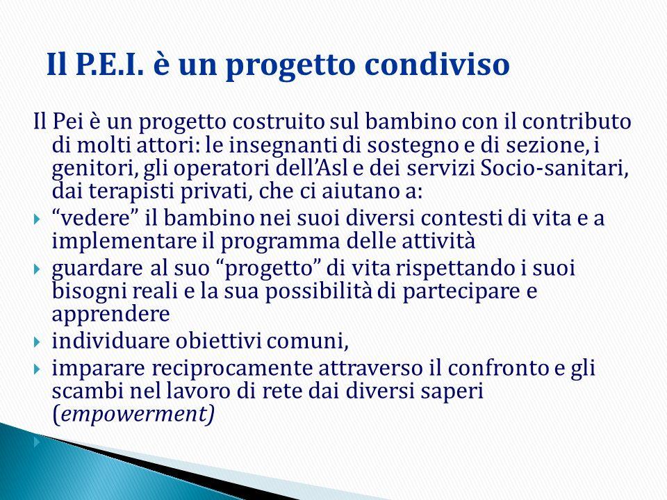 Il P.E.I. è un progetto condiviso