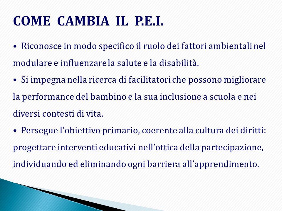 COME CAMBIA IL P.E.I. Riconosce in modo specifico il ruolo dei fattori ambientali nel modulare e influenzare la salute e la disabilità.