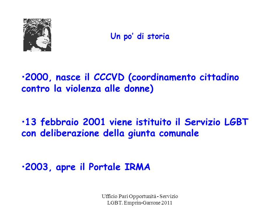 Ufficio Pari Opportunità - Servizio LGBT. Emprin-Garrone 2011