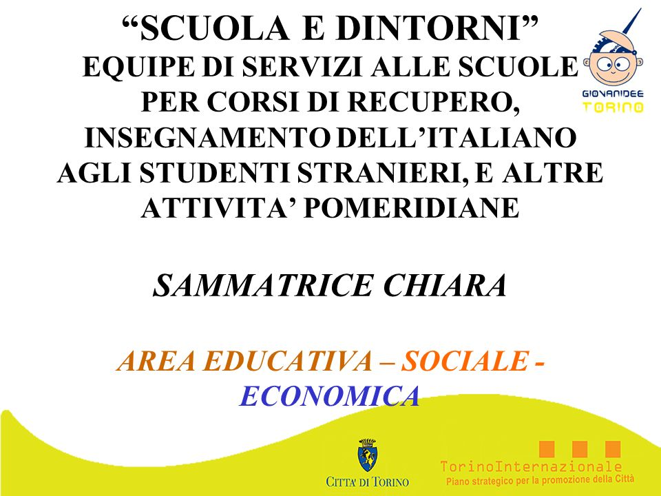 AREA EDUCATIVA – SOCIALE -ECONOMICA