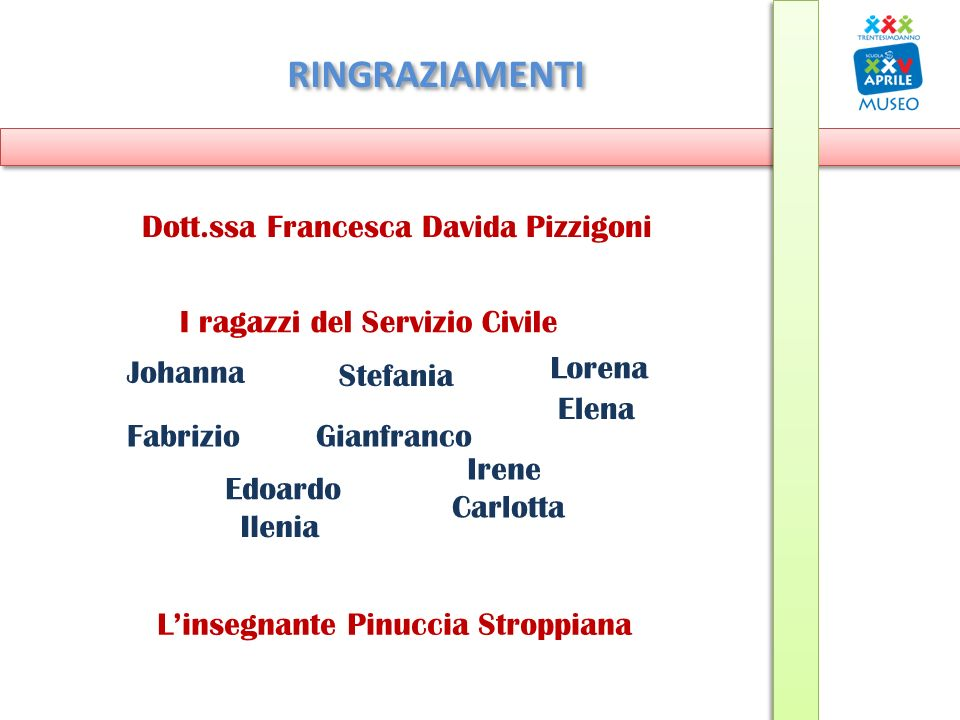 RINGRAZIAMENTI Dott.ssa Francesca Davida Pizzigoni