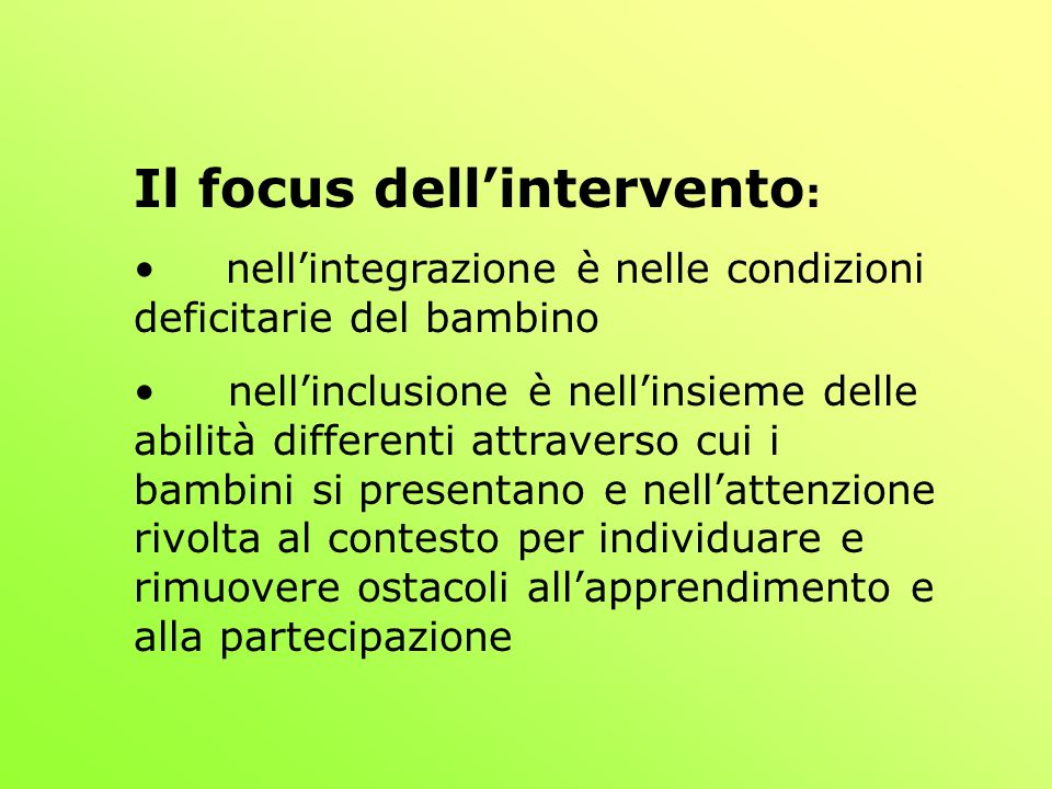 Il focus dell'intervento: