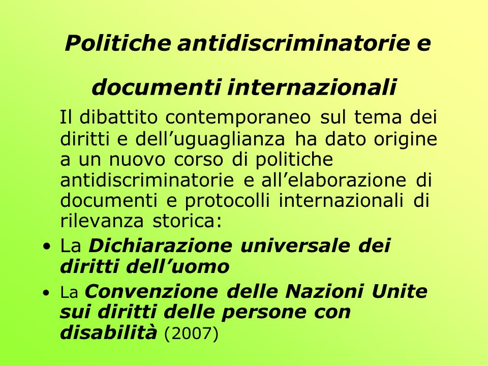 Politiche antidiscriminatorie e documenti internazionali