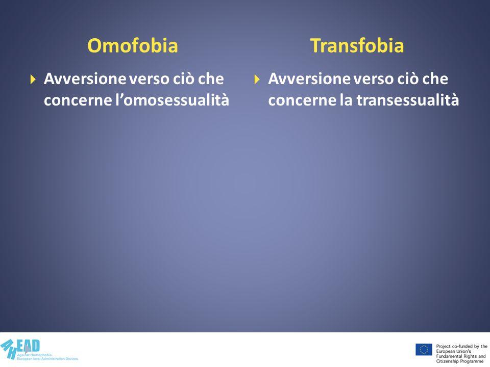 Omofobia Transfobia Avversione verso ciò che concerne l'omosessualità