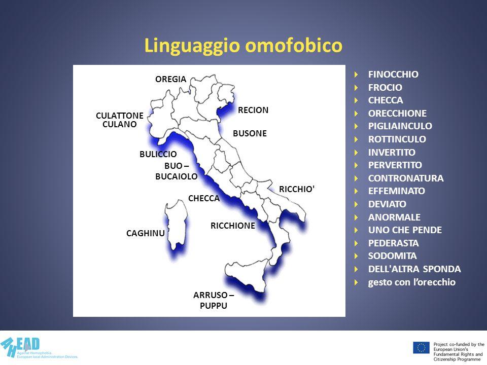 Linguaggio omofobico FINOCCHIO FROCIO CHECCA ORECCHIONE PIGLIAINCULO