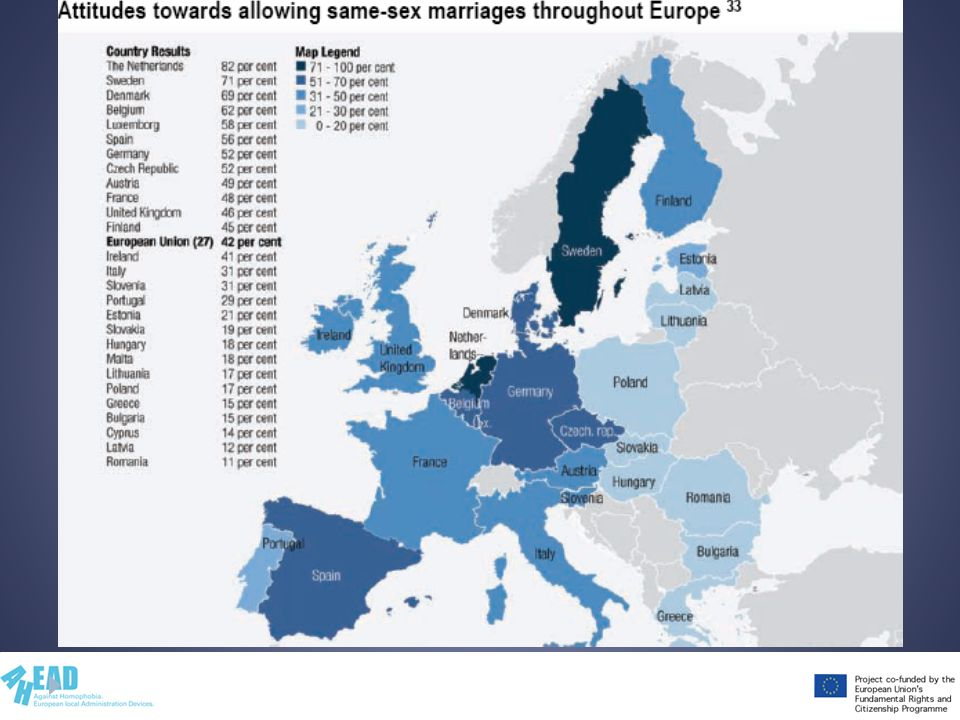Spiega i dati dopo avere letto e compreso il rapporto Homophobia and Discrimination on Grounds of Sexual Orientation and Gender Identity in the EU Member States: the Social Situation