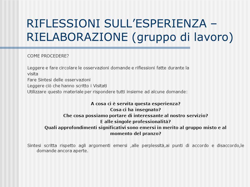 RIFLESSIONI SULL'ESPERIENZA – RIELABORAZIONE (gruppo di lavoro)