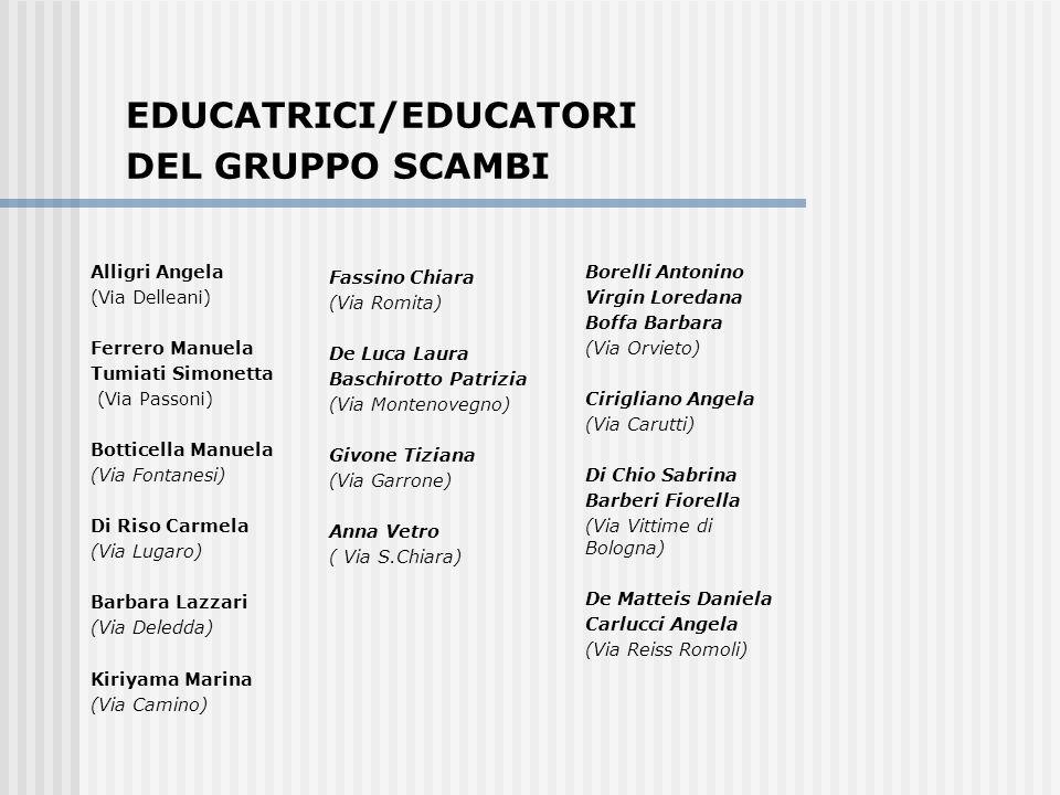EDUCATRICI/EDUCATORI DEL GRUPPO SCAMBI