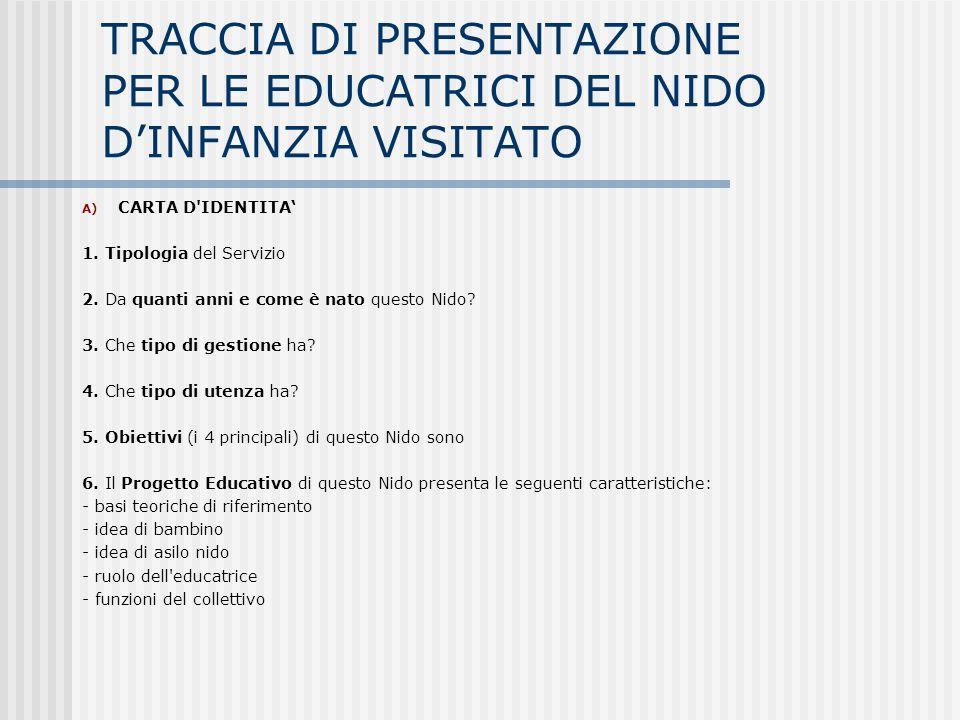 TRACCIA DI PRESENTAZIONE PER LE EDUCATRICI DEL NIDO D'INFANZIA VISITATO