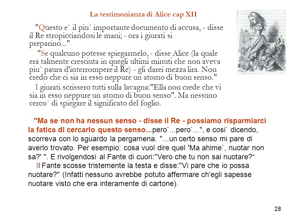 La testimonianza di Alice cap XII