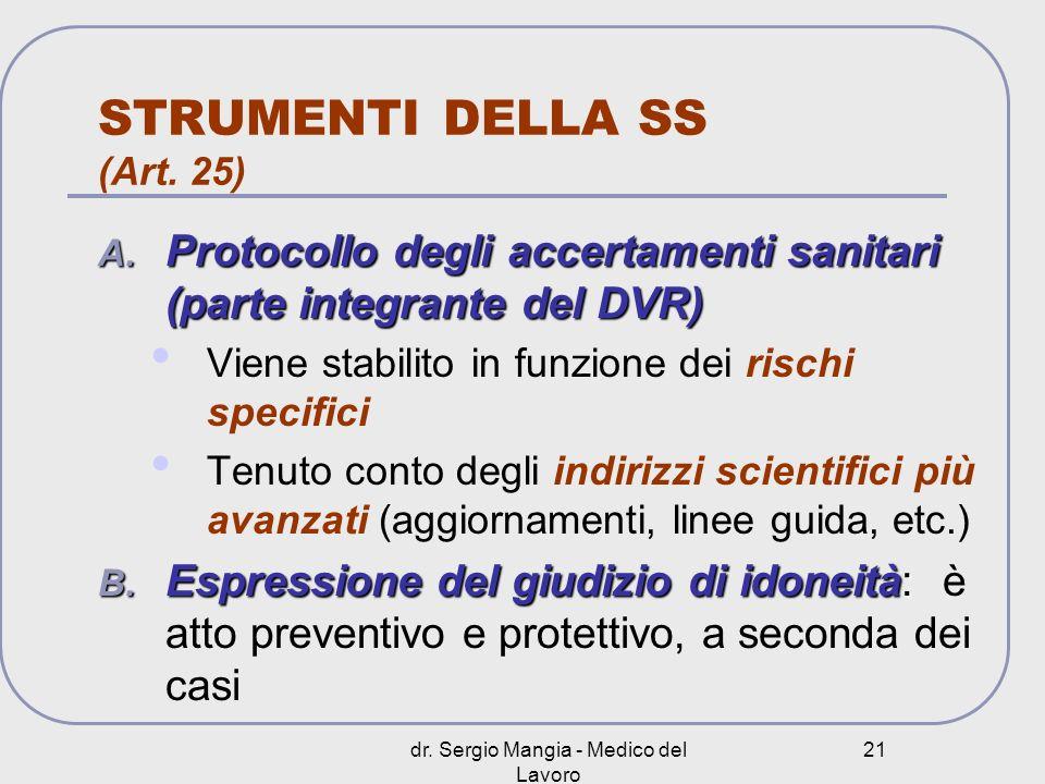 STRUMENTI DELLA SS (Art. 25)