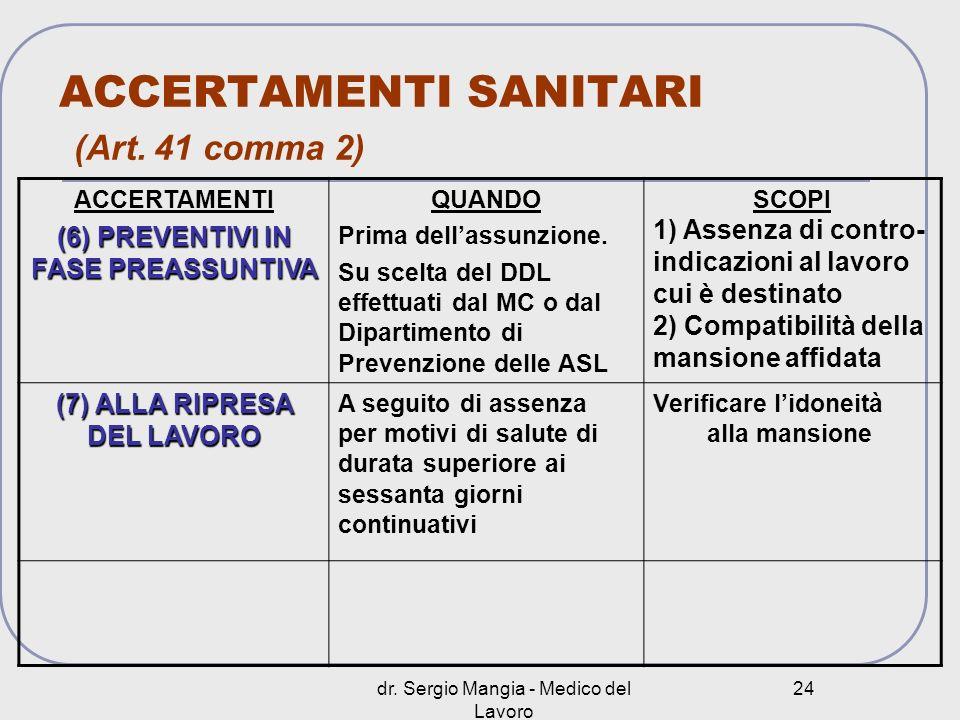 ACCERTAMENTI SANITARI (Art. 41 comma 2)