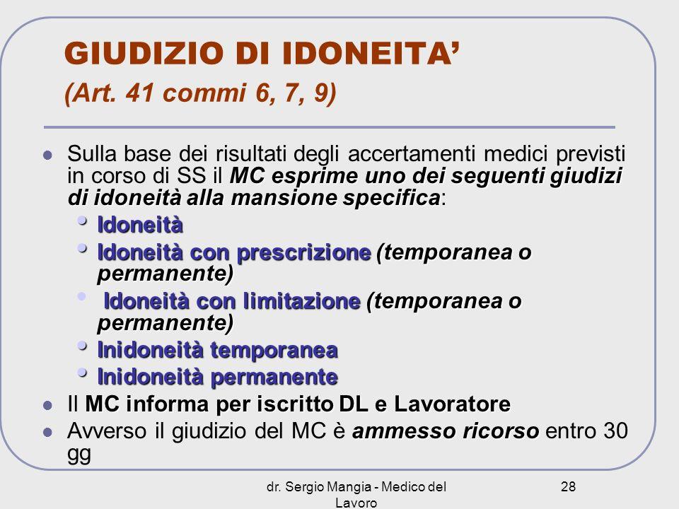 GIUDIZIO DI IDONEITA' (Art. 41 commi 6, 7, 9)