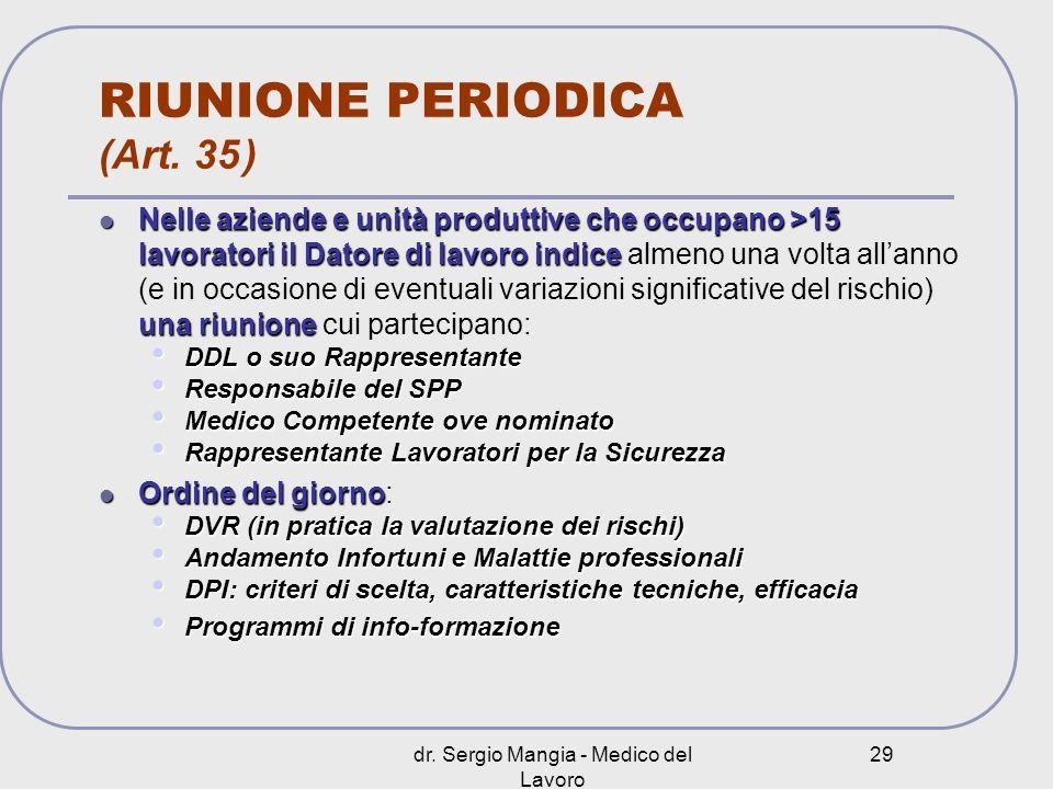 RIUNIONE PERIODICA (Art. 35 )