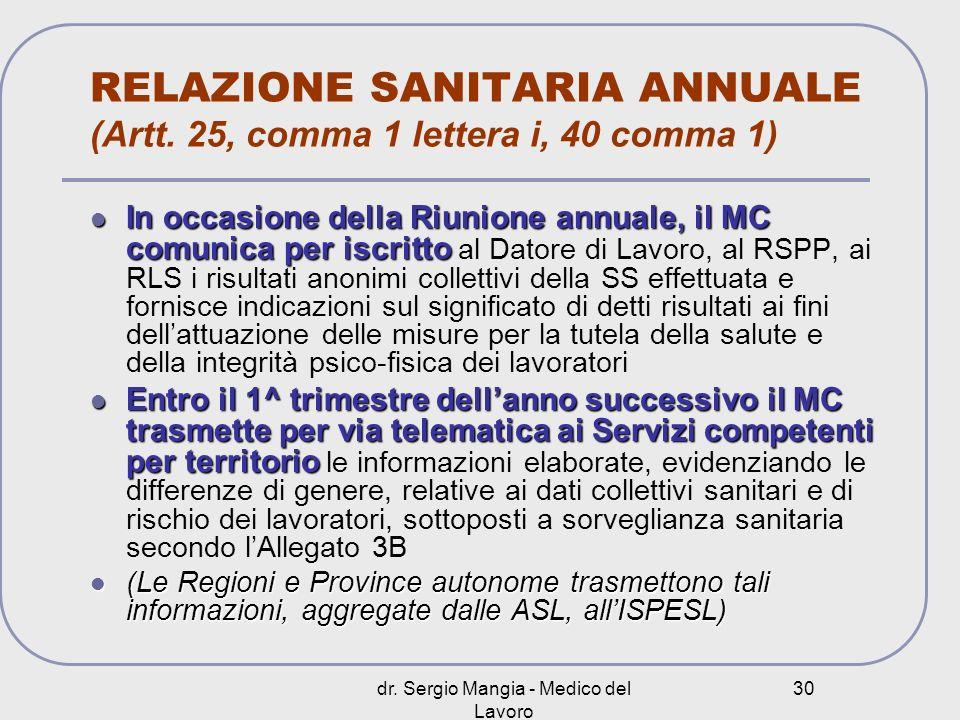 RELAZIONE SANITARIA ANNUALE (Artt. 25, comma 1 lettera i, 40 comma 1)
