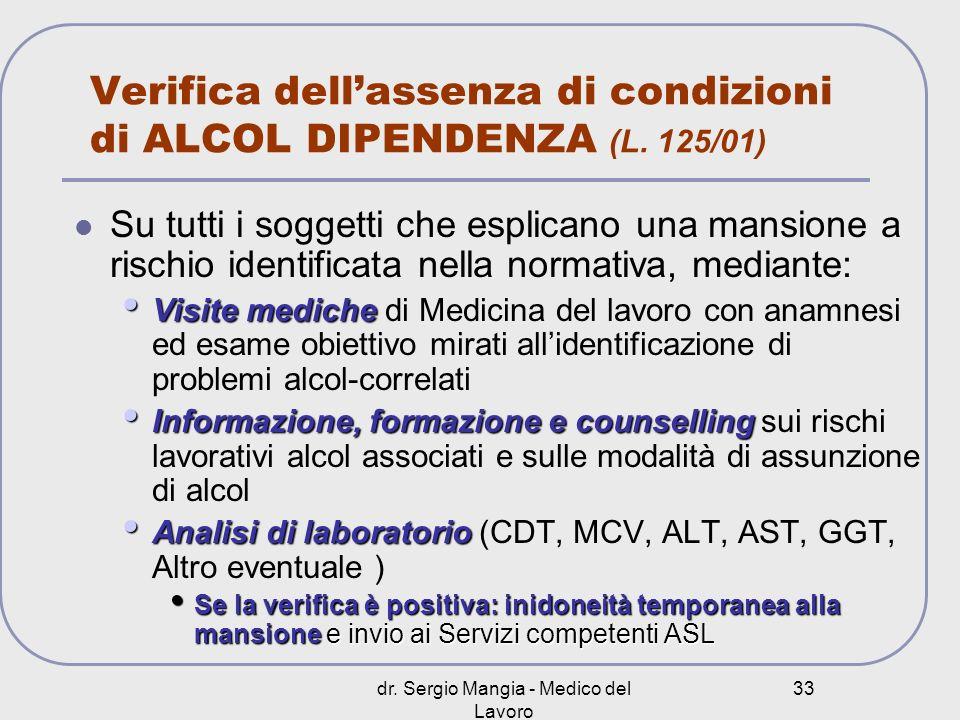 Verifica dell'assenza di condizioni di ALCOL DIPENDENZA (L. 125/01)